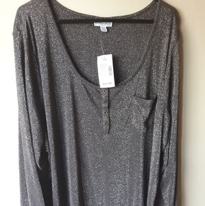 Fashion Bug Black metallic top 2x NWT